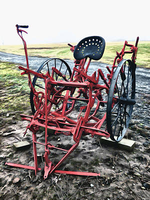 Digital Art - Horse Drawn Riding Cultivator by Leslie Montgomery