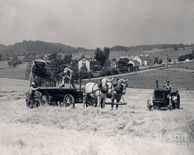 Horse-drawn Wagon And Tractor In Field Art Print by H. Armstrong Roberts/ClassicStock