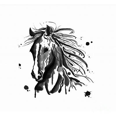 Beautiful Western Cowgirl Painting - Horse Face Art  by Gull G