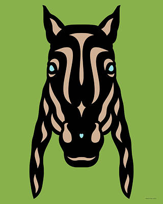 Horse Face Rick - Horse Pop Art - Greenery, Hazelnut, Island Paradise Blue Art Print