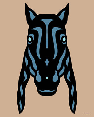 Black Horse Digital Art - Horse Face Rick - Horse Pop Art - Hazelnut, Niagara Blue, Island Paradise Blue by Manuel Sueess