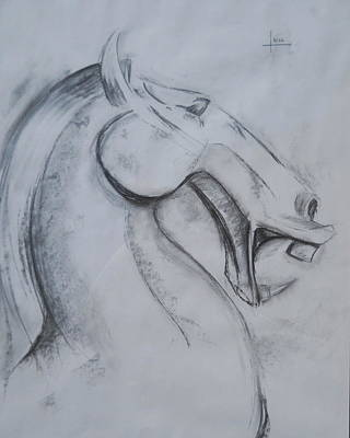 Horse Face Art Print by Victor Amor