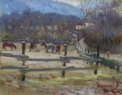 Horse Farm In Limana Art Print