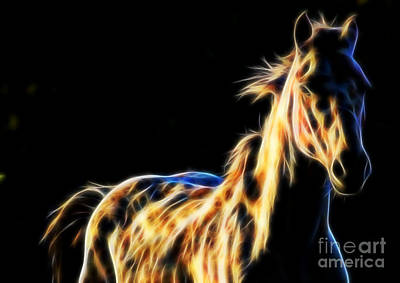 Digital Art - Horse Fractal On Black Background by Tracey Everington