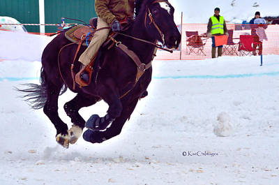 Photograph - Horse Galloping Over Snow by Kae Cheatham