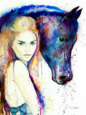Girls Mixed Media - Horse Girl  by Slavi Aladjova