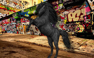 Mixed Media - Horse Graffiti Art by Marvin Blaine