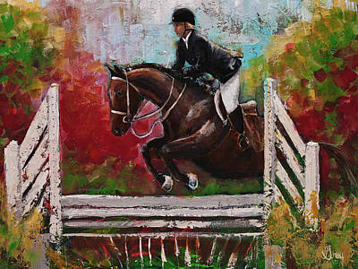 Painting - Show Jumper Equestrian Horse Wall Art  by Gray Artus