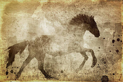 Cowgirl Mixed Media - Horse Grunge by Dan Sproul