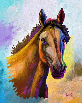 Animals Paintings - Horse Head by Anthony Mwangi