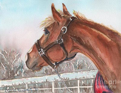 Sorrel Horse Painting - Horse Head Painting In Watercolor by Maria's Watercolor