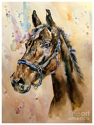 Horse Racing Painting - Horse Head by Suzann's Art