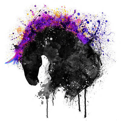 Horse Art Mixed Media - Horse Head Watercolor Silhouette by Marian Voicu