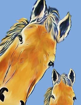 Digital Art - Horse Heads by Terry Cork