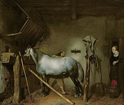 Seventeenth Century Painting - Horse In A Stable by Gerard Terborch