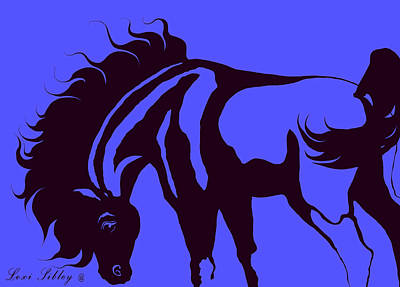 Horse In Blue And Black Art Print by Loxi Sibley