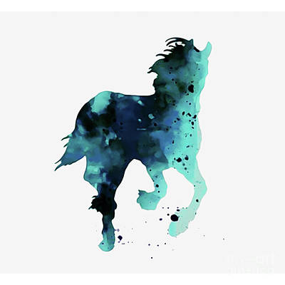 Beautiful Western Cowgirl Painting - Horse In Blue Art  by Gull G