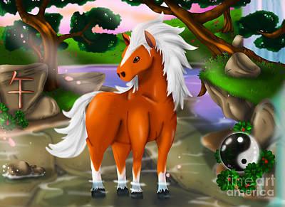 Horse In Chinese Zodiac Art Print