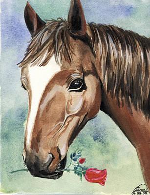 Animals Paintings - Horse In Love by Alban Dizdari