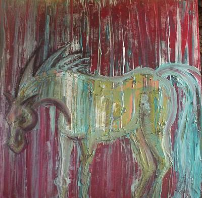 Animals Wall Art - Painting - Horse In The Rain by Joan Stratton