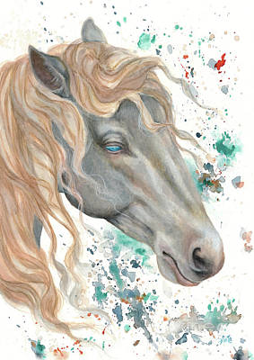 Mixed Media - Horse In Watercolour by Kathryn Whiteford