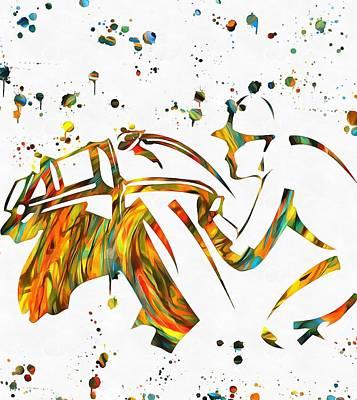 Horse Jockey Paint Splatter Art Print by Dan Sproul