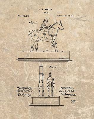 Animals Drawings - Horse Jockey Toy Patent by Dan Sproul
