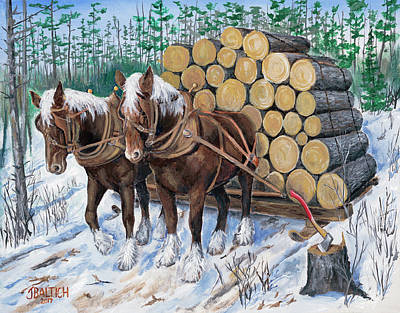 Painting - Horse Log Team by Joe Baltich