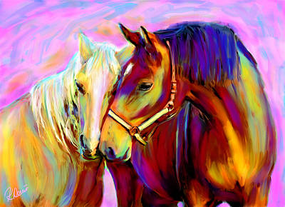 Horse Love Art Print by Karen Derrico