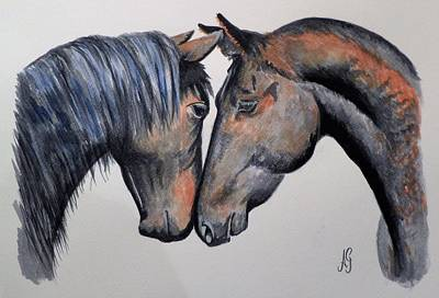 Painting - Horse Lovers by Anne Gardner