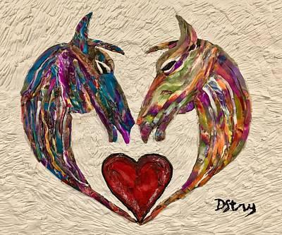 Mixed Media - Horse Lovers by Deborah Stanley