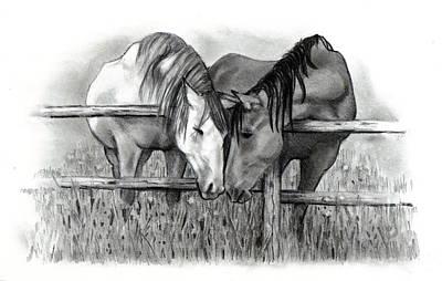 Animals Drawings - Horse Lovers by Joyce Geleynse