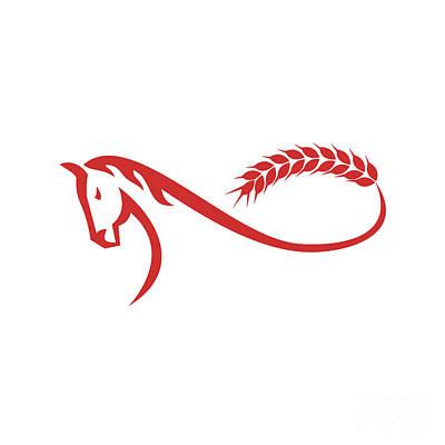 Mobius Strip Digital Art - Horse Malt Tail Mobius Strip Retro by Aloysius Patrimonio