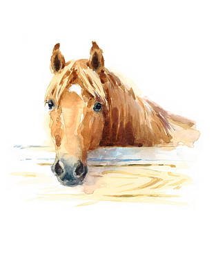 Red Dun Horse Painting - Horse by Maria Stezhko