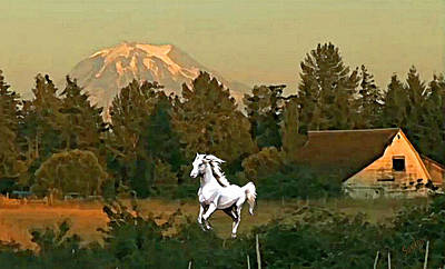 Horse Purse Painting - Horse Mountain And Barn by Susanna  Katherine