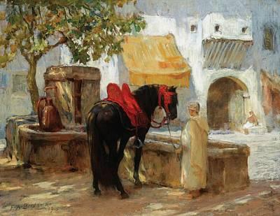 Boy Painting - Horse Near A Fountain by Frederick Arthur