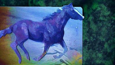 Mixed Media - Horse  Of Blues Collage by Anne-elizabeth Whiteway