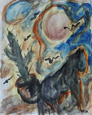 Mixed Media - Horse Of Moon Desert by Katt Yanda