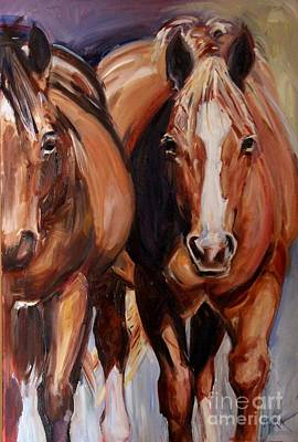 Sorrel Horse Painting - Horse Oil Painting by Maria's Watercolor