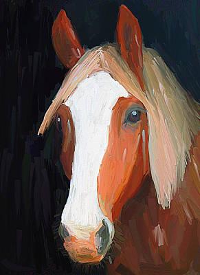 House Pet Digital Art - Horse On Black by Yury Malkov