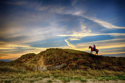 Digital Art - Horse On Sand Dune Against A Sunset In Co. Donegal, Ireland by John Carver