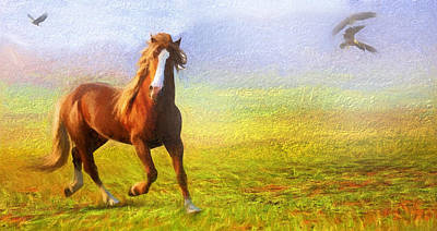 Horse Art Mixed Media - Horse On The Prairie by Georgiana Romanovna