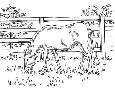 Drawing - Horse On The Ranch Ink Drawing II by Irina Sztukowski