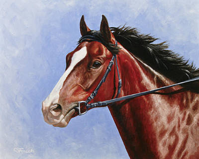 Bay Thoroughbred Horse Painting - Horse Painting - Determination by Crista Forest