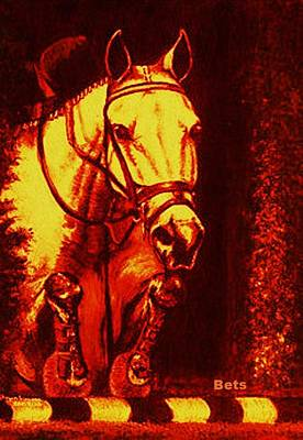 Horse Art Digital Art - Horse Painting Jumper No Faults Reds by Bets Klieger