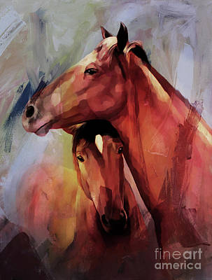 Landscap Painting - Horse Pair 003 by Gull G
