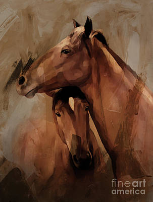 Landscap Painting - Horse Pair 005 by Gull G