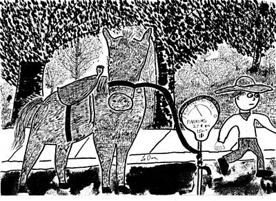 Cartoon Horse Drawing - Horse Parking by Aaron LeDuc
