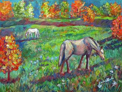 Horse In Autumn Painting - Horse Pasture by Kendall Kessler