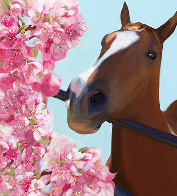 Painting - Horse Pink Blossoms by Julianne Ososke